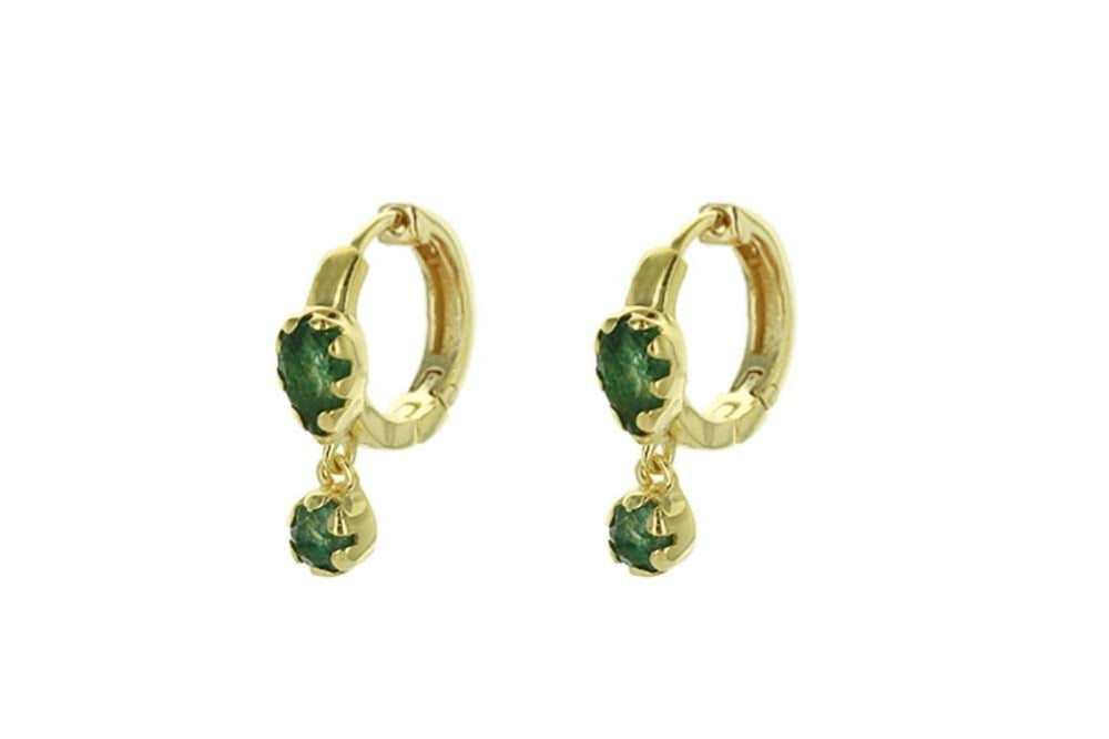 Gold Micro Hoops with a Dangling Aventurine