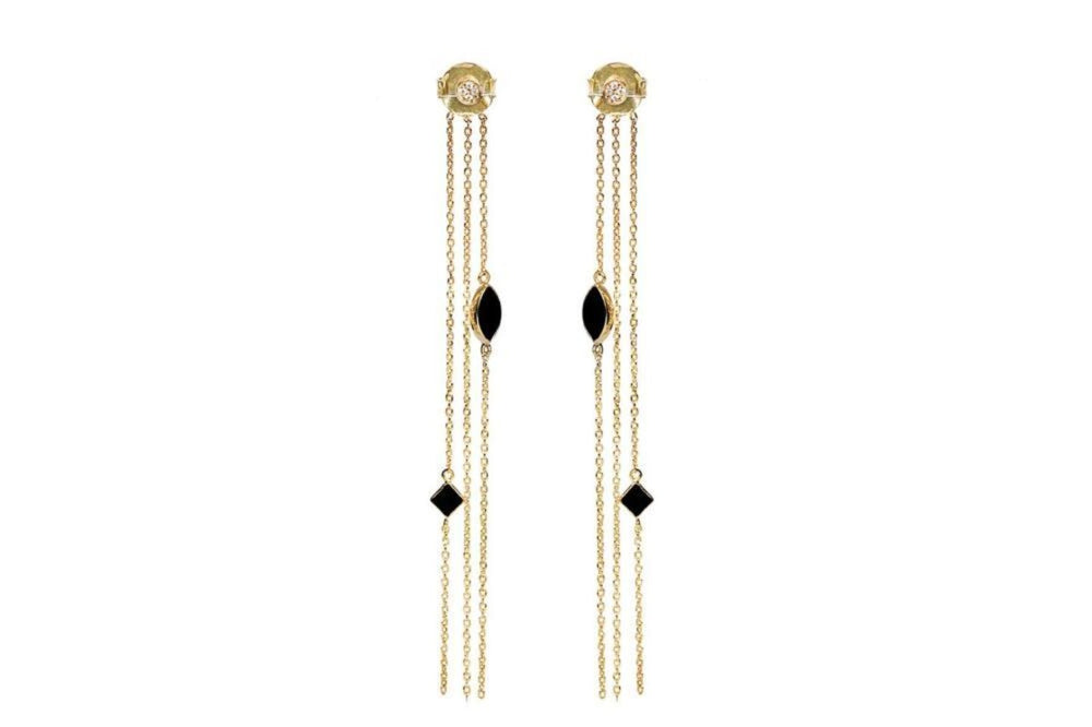 Gold Chain Studs with Onyx and White Zircons