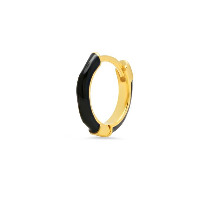 Gold Huggie Hoop with Black Enamel