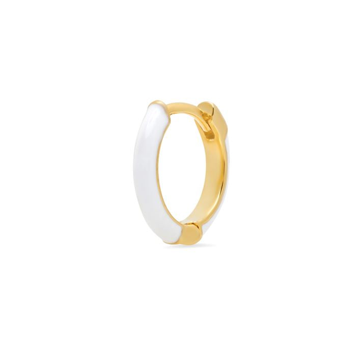 Gold Huggie Hoop with White Enamel