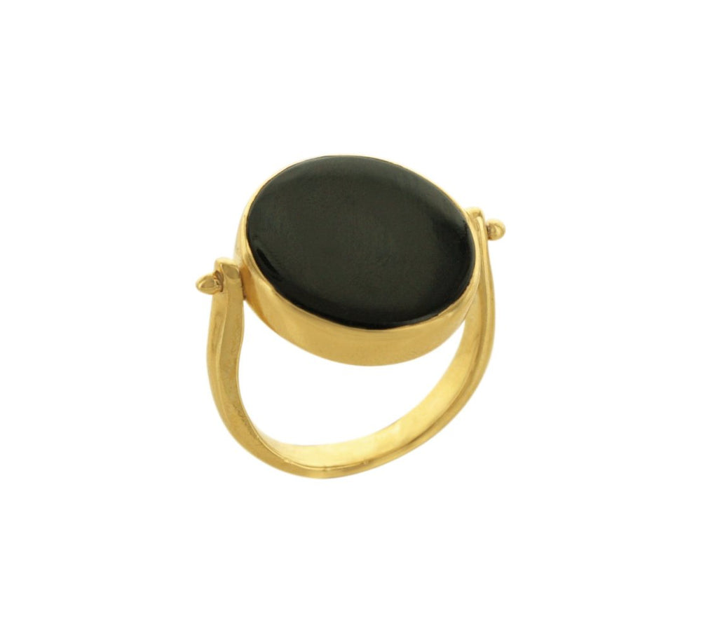 Gold Double Sided Ring with Onyx