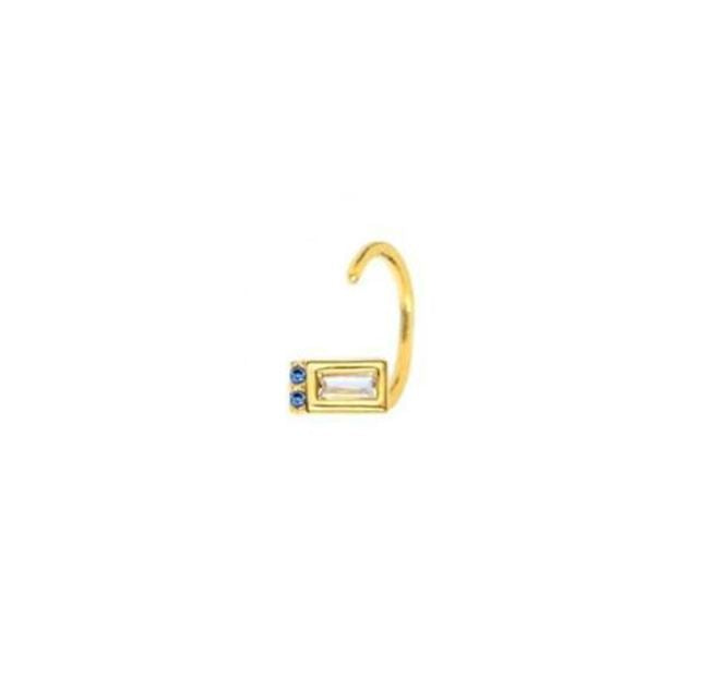 Gold Mini Huggie with Clear and Blue Zircons