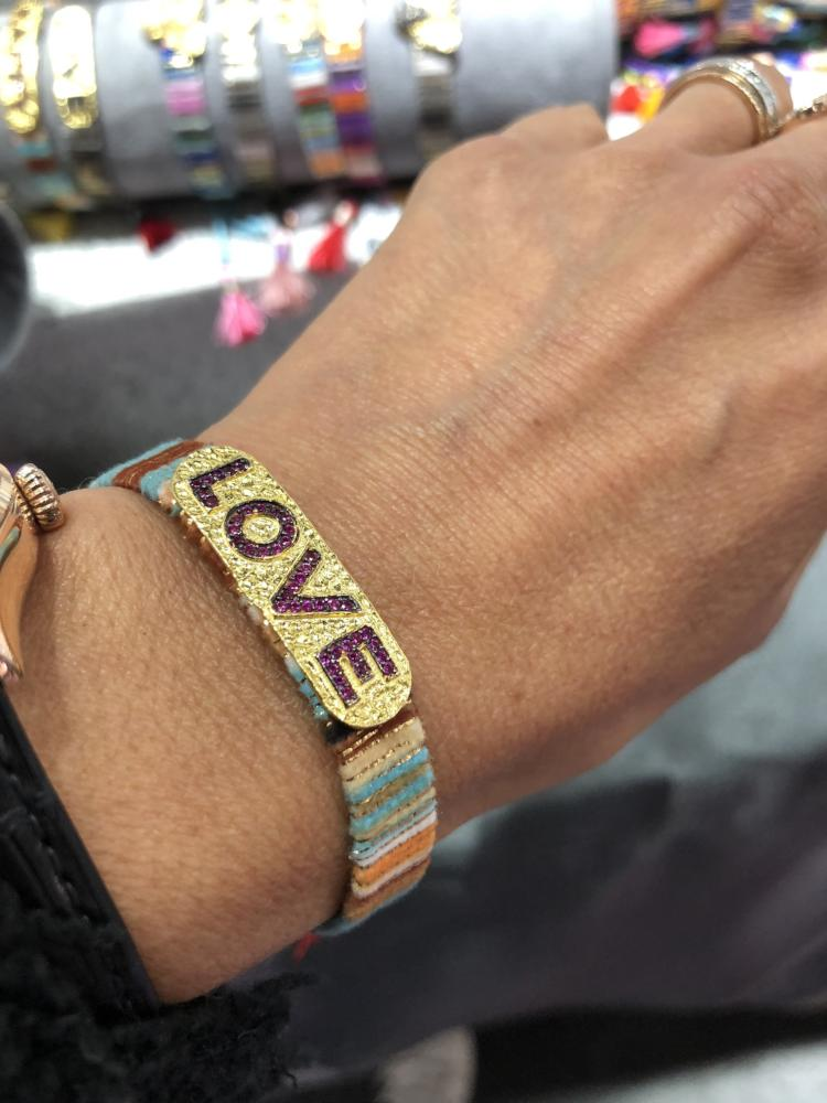 Gold Multicoloured Fabric Bracelet with LOVE in Zircons