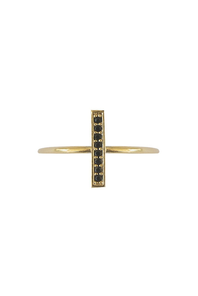 Gold T ring with Onyx Zircons