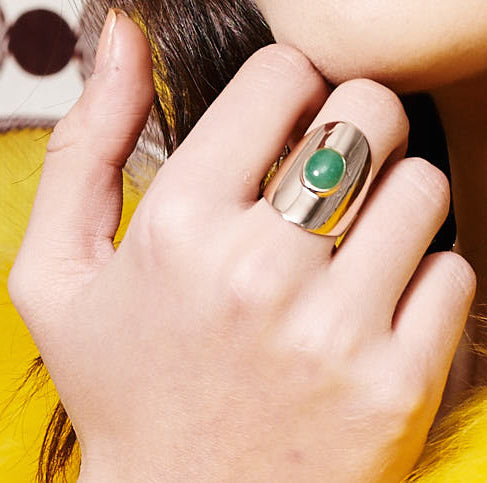 Rose Gold Ring with Jade Stone