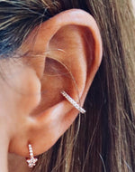 Rose Gold Star Micro Hoop Stud