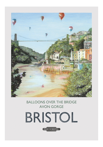 Balloons Over the Bridge Greeting Card by Mockingbird Press