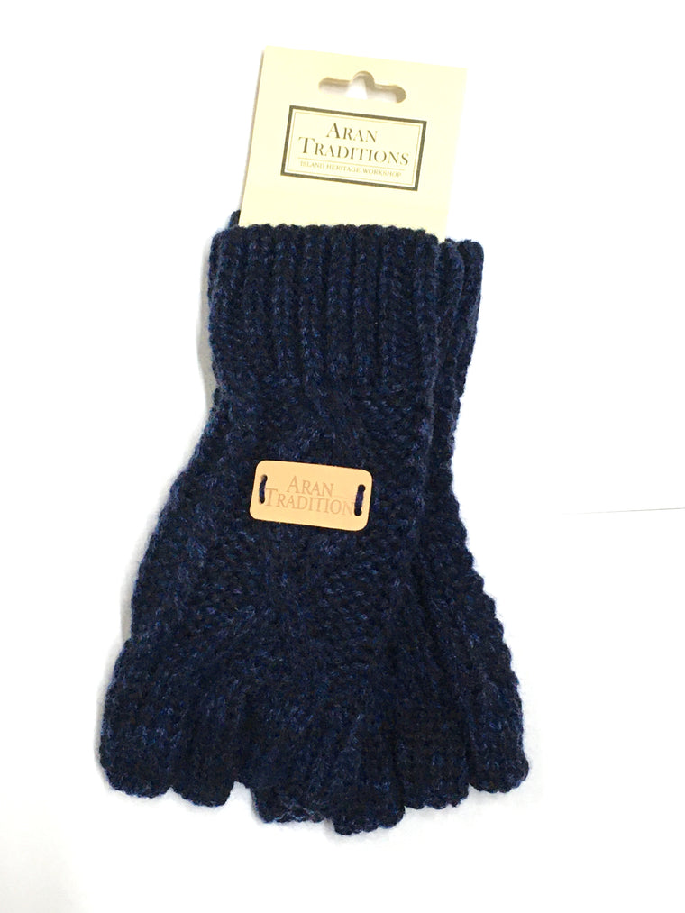 Cable Fingerless Gloves - Navy