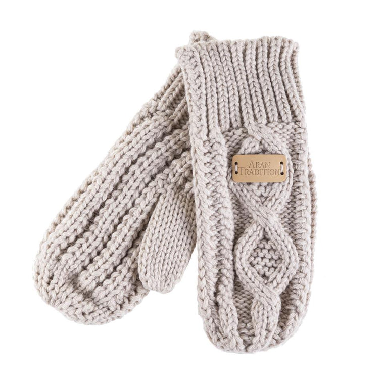 Oatmeal Aran Traditions Cable Knitted Mittens