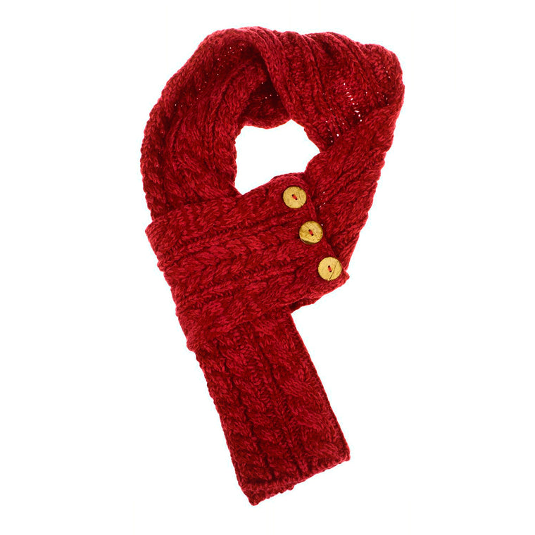 Red cable knit button wrap scarf