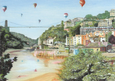 Balloons Over The Bridge Postcard - Robert Antell