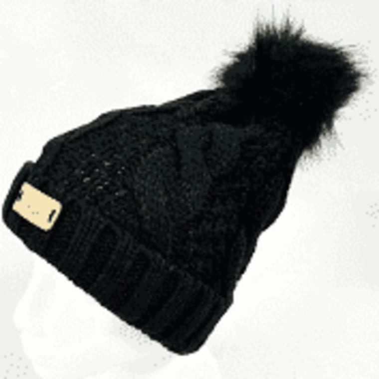 Black Aran Traditions Cable Beanie with Pom Pom