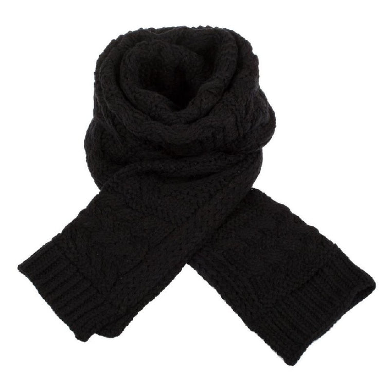 Black cable knit scarf by Aran Traditions