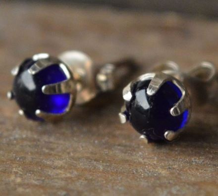 Bristol Blue Glass Silver Studs