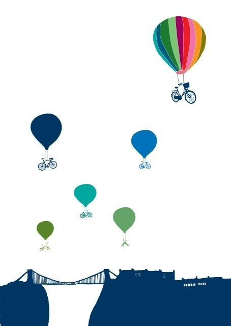 Bristol, Bike, Balloon Print - Hannah Broadway
