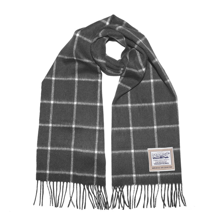 Charcoal grey checked scarf