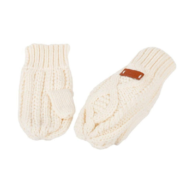Cable Knitted Mitts - White