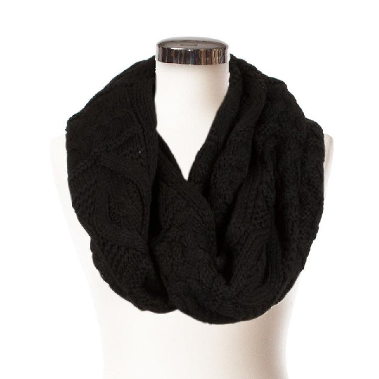Cable Snood Scarf - Black