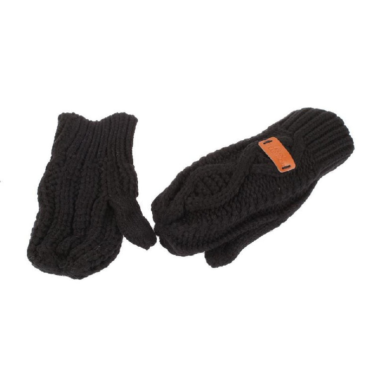 Cable knitted Mitts - Black