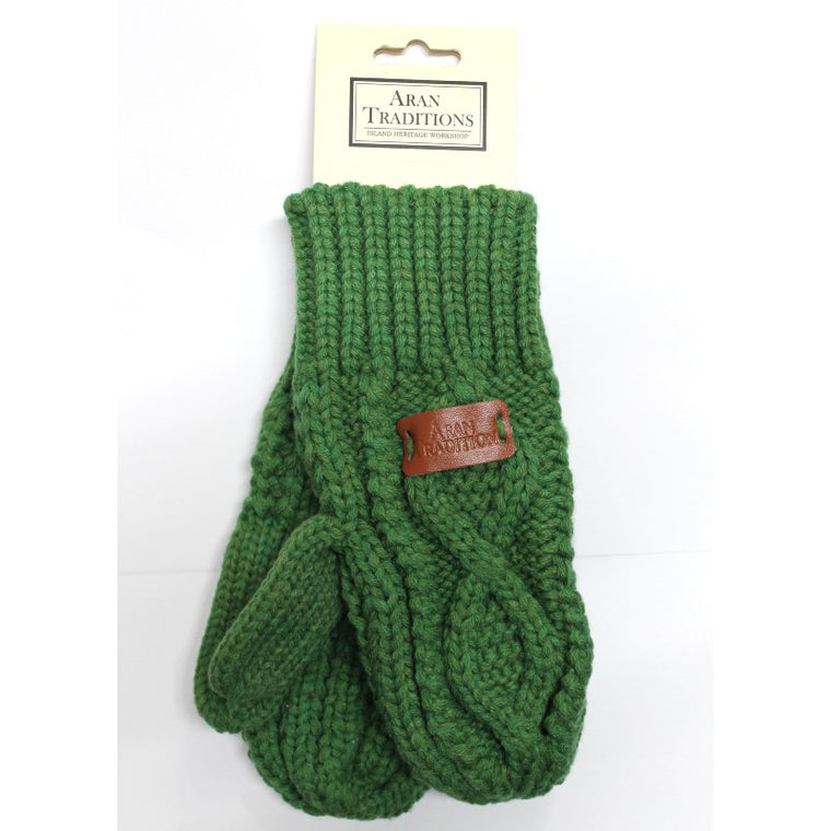 Cable knitted Mitts - Green