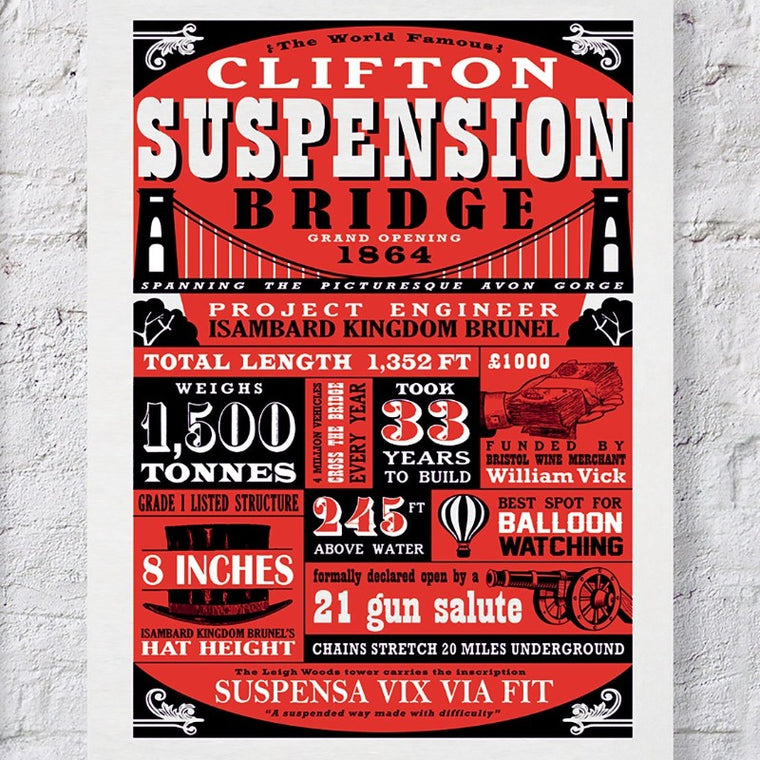 Clifton Suspension Bridge Typography Print - Red