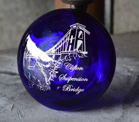 Bristol Blue Glass Clifton Suspension Bridge Paperweight