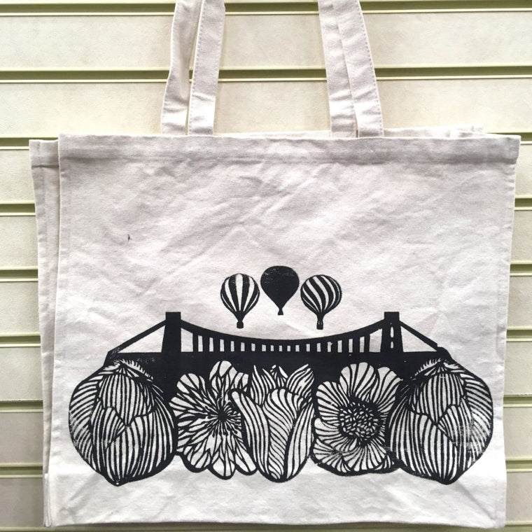 Floral Clifton Suspension Bridge Tote Bag