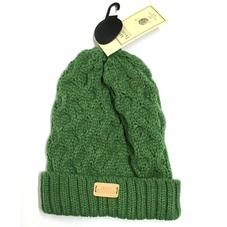 Green Aran Traditions Beanie Hat