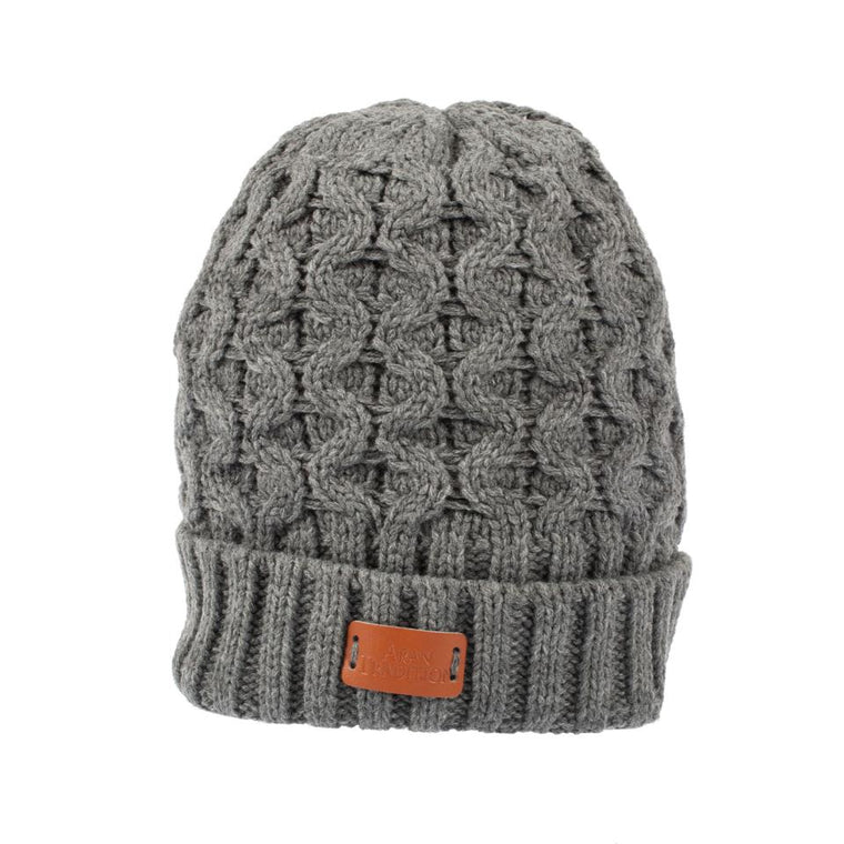 Unisex Aran Cable Beanie Hat - Grey