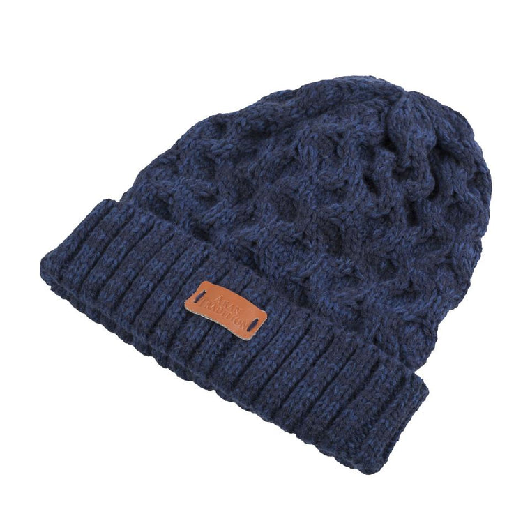 Unisex Aran Cable beanie Hat - Navy