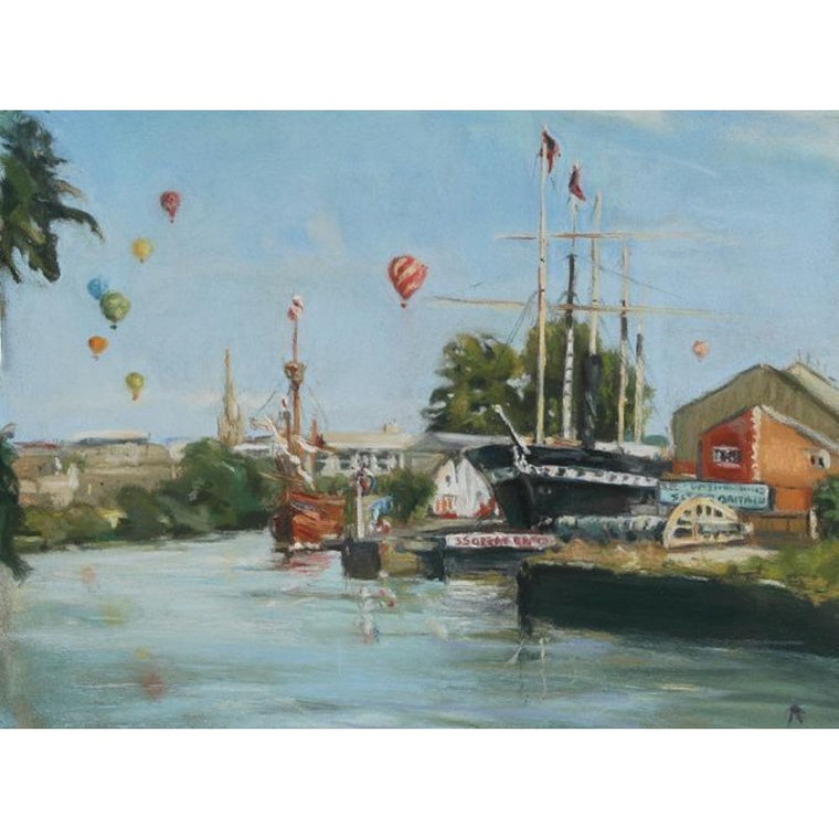 Harbourside Bristol Greeting Card - Linda Alvis
