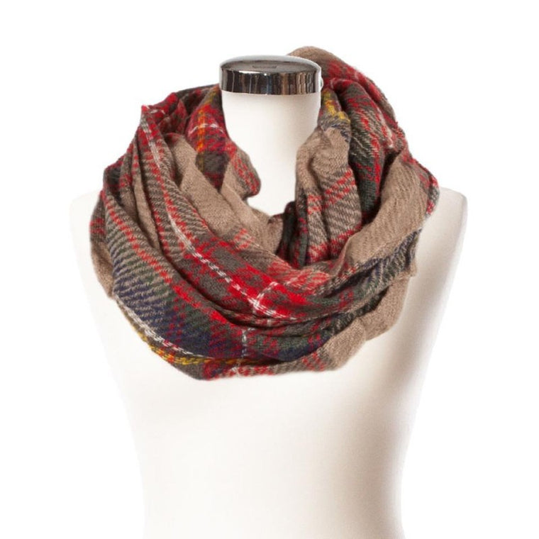 Ladies Soft Tartan Snood - Beige