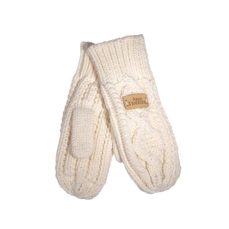 Cable Knitted Mitts - Cream
