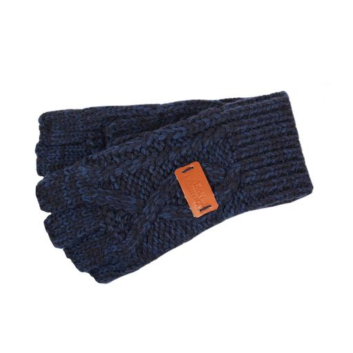 Cable knitted fingerless Gloves -Navy