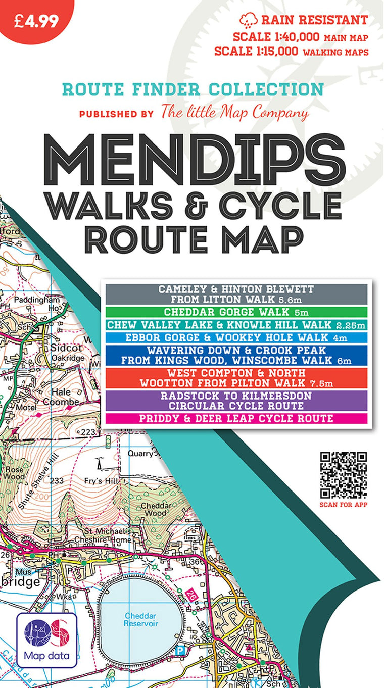 Mendips Walks & Cycle Route Map