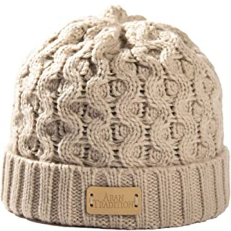 Oatmeal Aran Traditions Ribbed Beanie Hat