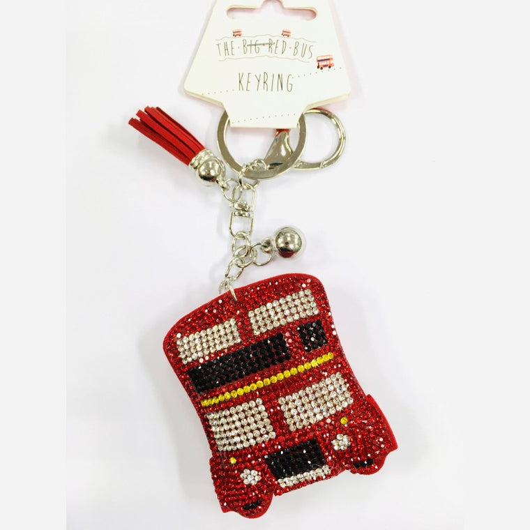 Red Bus Strass Keyring