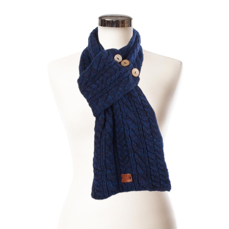 Dark blue/ navy cable wrap button scarf