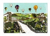 Balloons over the Bridge Fridge Magnet - Emmeline Simpson