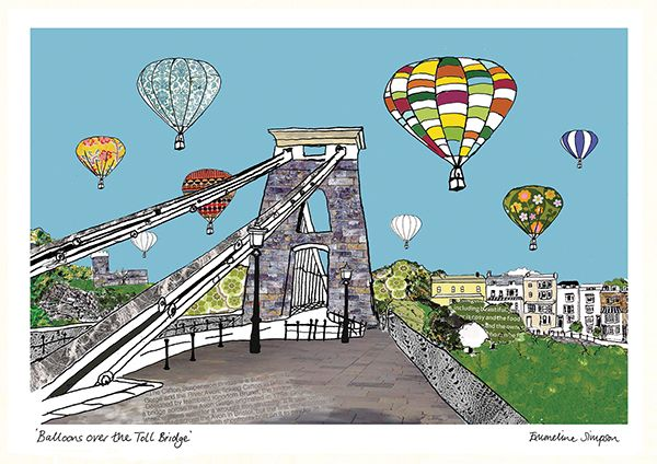 Balloons over the Toll Bridge A3 Print by Emmeline Simpson
