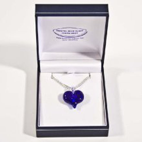 Bristol Blue Glass Blue Heart Silver Chain Necklace