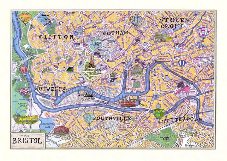 The City of Bristol Map A3 Print by Emmeline Simpson