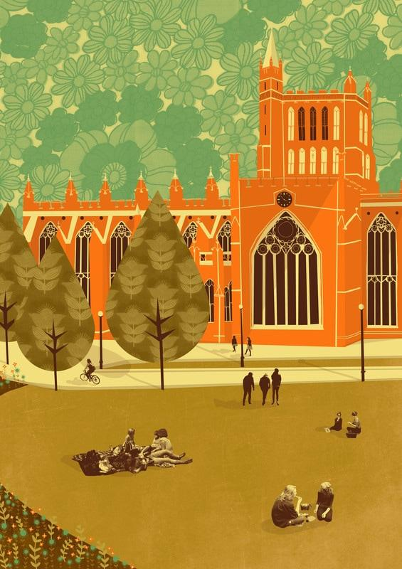 Cathedral Illustration Card - Emy Lou Holmes