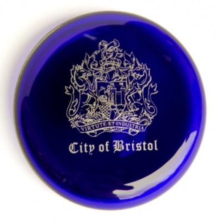 Bristol Blue Glass City of Bristol Paperweight