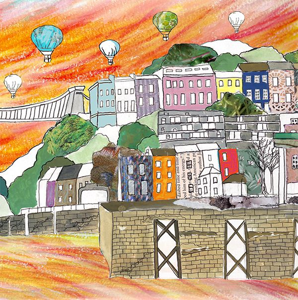 Clifton Balloons Sunset A4 Print by Emmeline Simpson