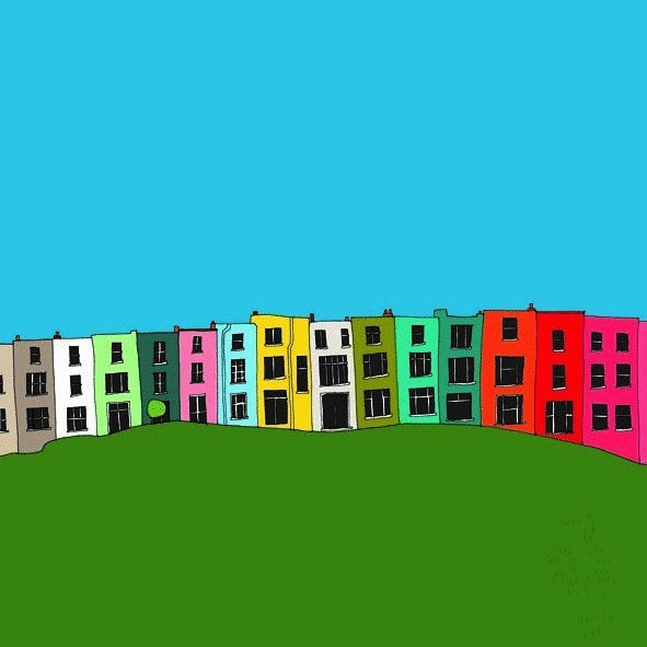 Colourful Houses Print - Hannah Broadway