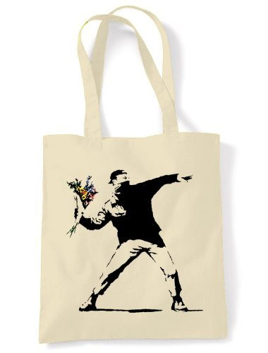 Banksy 'Flower Thrower' Tote Bag