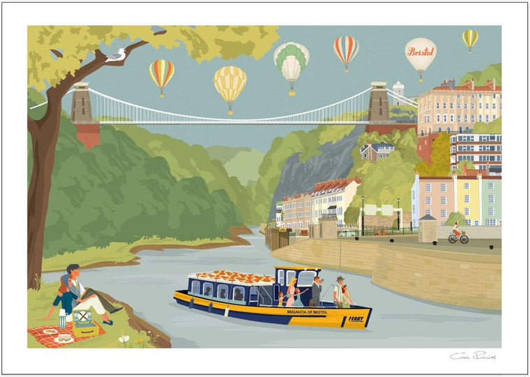 Bristol Avon Gorge and Ferry Art Print by Clare Phillips