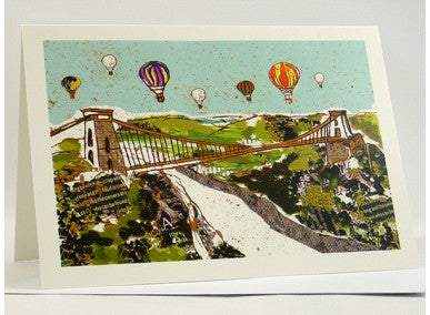 Balloons over the Bridge Bristol Greetings Card - Emmeline Simpson