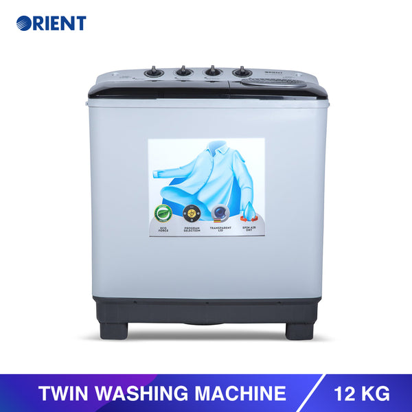 Twin 12 Kg Modern White Washing Machine